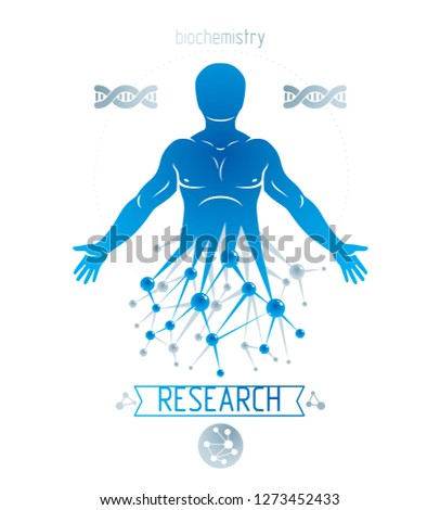Athletic man vector illustration made using futuristic molecular connections. Human as the object of biochemistry research, genetic engineering.