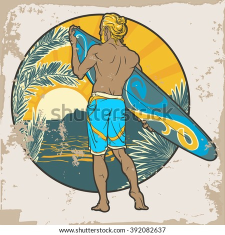 athletic shaped trendy surfer