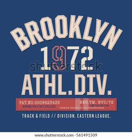 c56223fea Vector Images, Illustrations and Cliparts: Athletic sport Brooklyn  typography, tee shirt graphics, vectors   Hqvectors.com