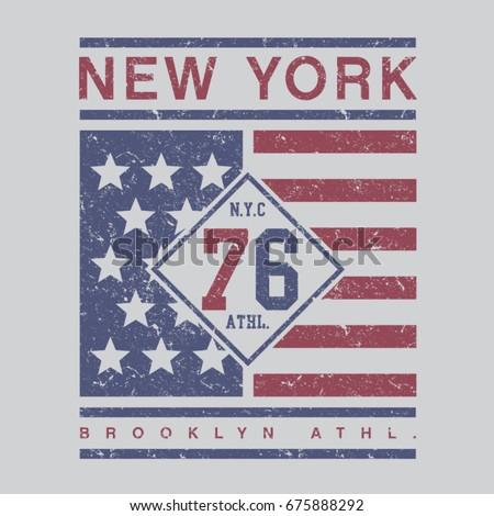 Athletic sport New York typography, tee shirt graphics, vectors