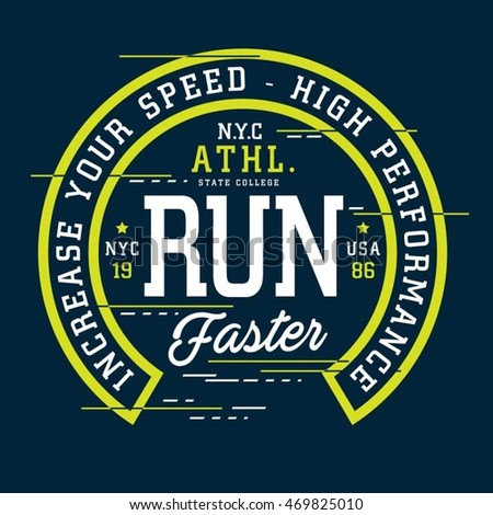 athletic sport run typography