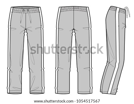 Athletic training pants fashion vector illustration flat sketches template