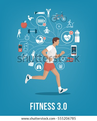 Athletic young man running surrounded by fitness concepts and icons