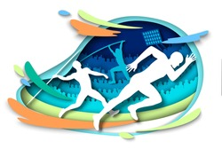 Athletics sport events. Athlete silhouettes, vector illustration in paper art style. Sprints. Pole vault. Javelin throw. Track and field, sport championship.