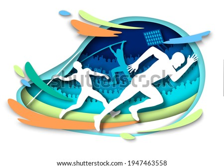 Athletics sport events. Athlete silhouettes, vector illustration in paper art style. Sprints. Pole vault. Javelin throw. Track and field, sport championship. Foto stock ©