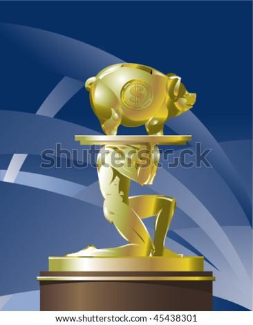 Atlant carrying golden piggy bank on a platter - stock vector