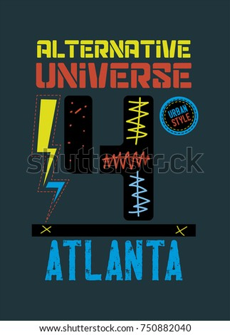 atlanta alternative universe,t-shirt print poster vector illustration