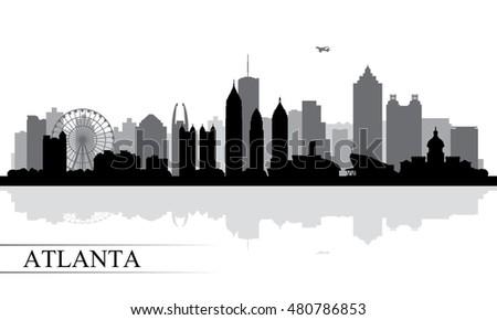 Atlanta city skyline silhouette background, vector illustration