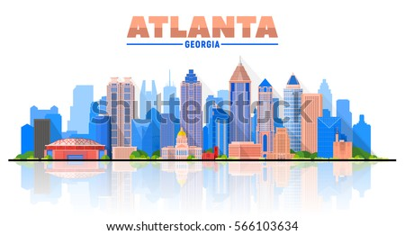 Atlanta (Georgia ) city skyline white background. Flat vector illustration. Business travel and tourism concept with modern buildings. Image for banner or web site.