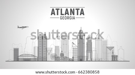 Atlanta (Georgia ) line city skyline white background. Flat vector illustration. Business travel and tourism concept with modern buildings. Image for banner or web site.