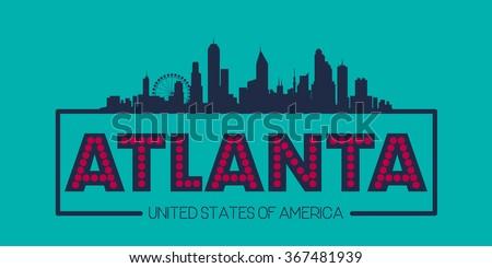 Atlanta skyline silhouette poster vector design illustration