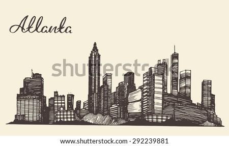 Atlanta skyline, vintage engraved illustration, hand drawn, sketch