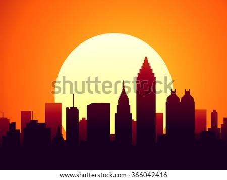 atlanta sunset city skyline