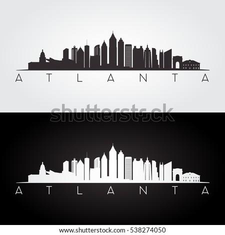 Atlanta USA skyline and landmarks silhouette, black and white design, vector illustration.