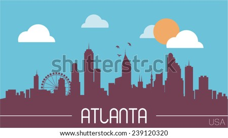 Atlanta USA skyline silhouette flat design vector illustration.