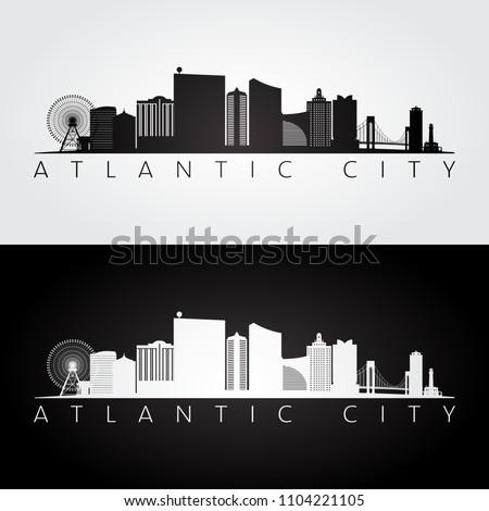 Atlantic city, USA skyline and landmarks silhouette, black and white design, vector illustration.