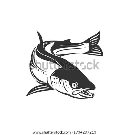 Atlantic salmon ray-finned fish e isolated monochrome icon. Vector trout, char, grayling whitefish fishing sport trophy, fishery mascot. Underwater animal, salmon freshwater fish, seafood, marine food Сток-фото ©