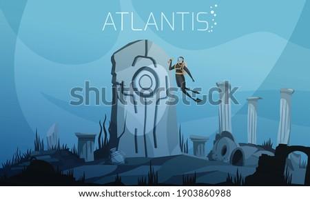 atlantis on ocean bottom vector