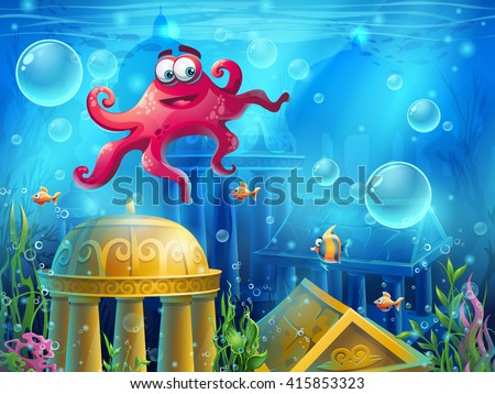 Stock Photo Atlantis ruins cartoon octopus - vector background  illustration screen to the computer game. Bright background image to create original video or web games, graphic design, screen savers.