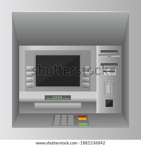Atm bank cash machine 3d vector illustration. Realistic front view of atm street kiosk with screen, keypad and slots for banknote money, credit card, bankomat finance service on wall background