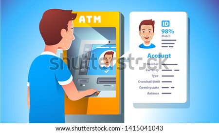 ATM face recognition concept. Man using cash machine unlocking account using secure facial biometric data scan authentication with modern AI match technology system. Flat vector character illustration