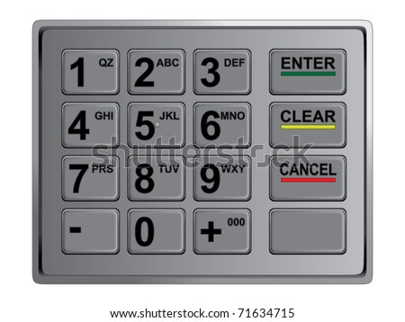 atm keypad isolated on white. Vector