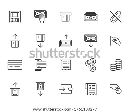 Atm machine line icon set. Withdraw money, deposit, hand taking cash, receipt minimal vector illustration. Simple outline signs for payment terminal application. Pixel Perfect. Editable Strokes. Stock photo ©