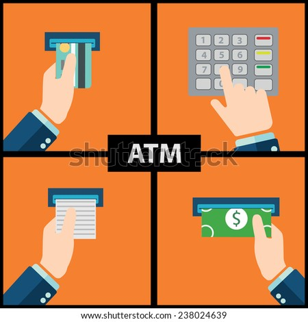 ATM machine money deposit and withdrawal