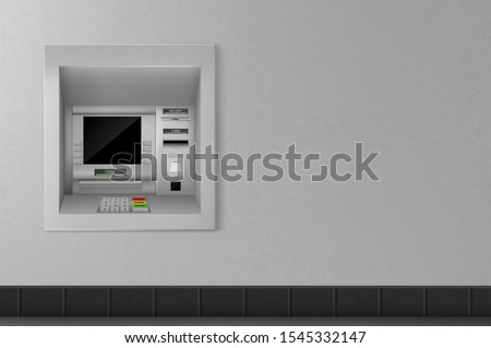 Atm machine on grey wall background, automated teller with black monitor, keypad for enter password and operation with money. Banking terminal for finance service. Realistic 3d vector illustration