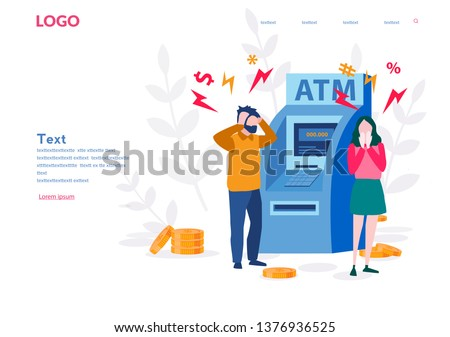 ATM machine with no money and sad customers around. Vector illustration for web page, banner, presentation, social media.  Management of investment in cards. Problems with ATM machine.