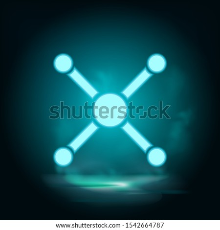 Atom, atom bond neon icon - Vector. Blue neon illustration. Atom, atom bond neon icon - Vector. Infographic concept vector illustration