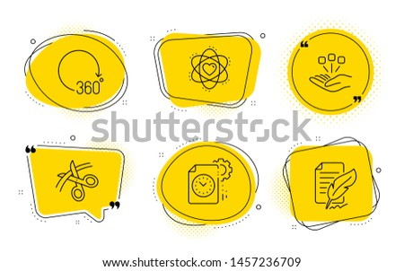 Atom, Consolidation and Feather signature signs. Chat bubbles. Scissors, Project deadline and 360 degrees line icons set. Cutting ribbon, Time management, Full rotation. Electron. Science set. Vector