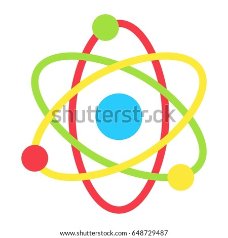 Atom flat icon, Education and physics, vector graphics, a colorful solid pattern on a white background, eps 10.
