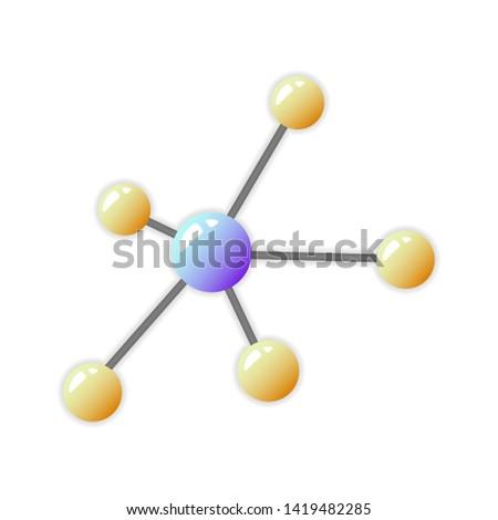 Atom icon, atom symbol, vector atom image, science, chemistry, molecule.