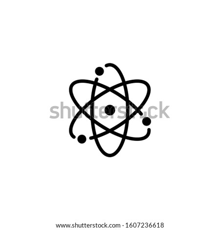Atom icon in black flat design on white background. Symbol of science, education, nuclear physics, scientific research. Electrons and protonssign