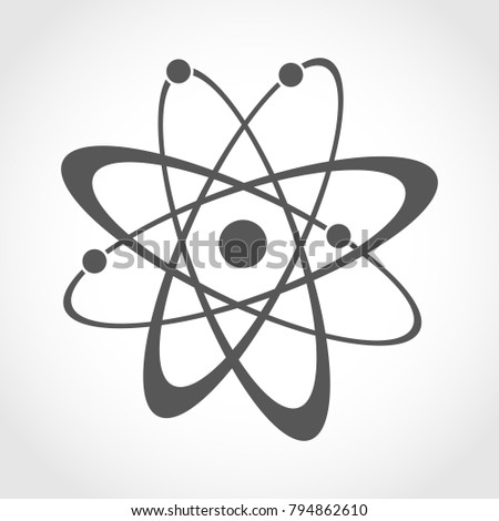 Atom icon in flat design. Gray molecule symbol or atom symbol isolated. Vector illustration.