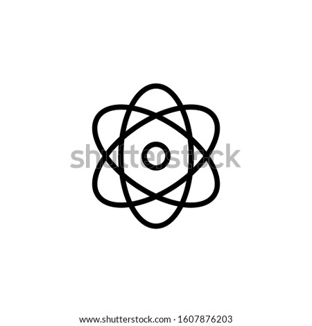 Atom icon in outline style on white background. Symbol of science, education, nuclear physics, scientific research. Electrons and protonssign