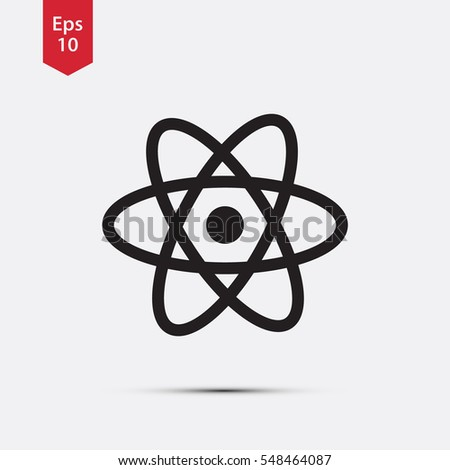 Atom Icon. Simple Flat Style Symbol. Vector Illustrated Sign