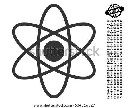 Atom icon with black bonus job clip art. Atom vector illustration style is a flat gray iconic symbol for web design, app user interfaces.