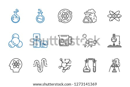 atom icons set. Collection of atom with flask, molecule, physics, molecules, beaker, periodic table, atomic, atoms. Editable and scalable atom icons.