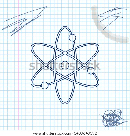 Atom line sketch icon isolated on white background. Symbol of science, education, nuclear physics, scientific research. Electrons and protonssign. Vector Illustration