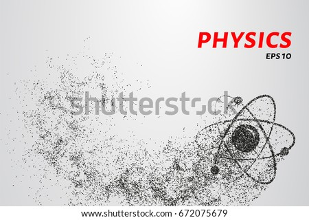Atom of the particles. The atom and the electrons consists of circles and points. Vector illustration