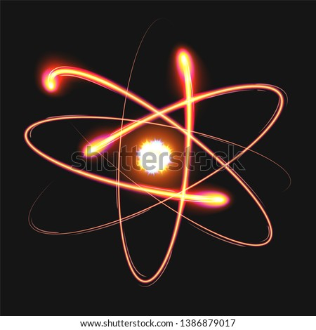 Atom structure model with nucleus surrounded by electrons. Technological concept of nuclear power. Vector illustration on a black background