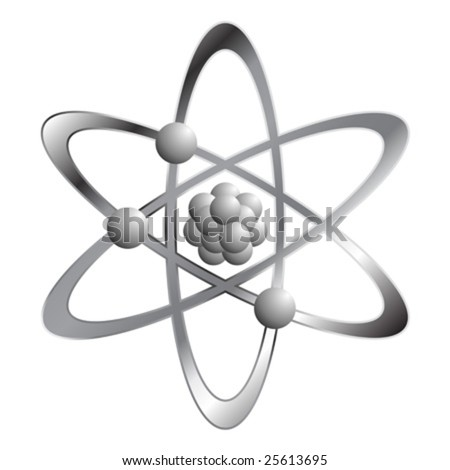 Atom symbol isolated over white square background