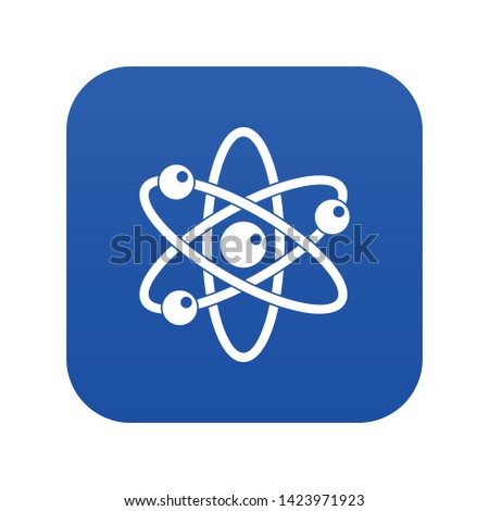 Atom with electrons icon digital blue for any design isolated on white vector illustration