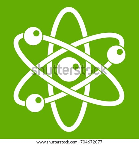Atom with electrons icon white isolated on green background. Vector illustration