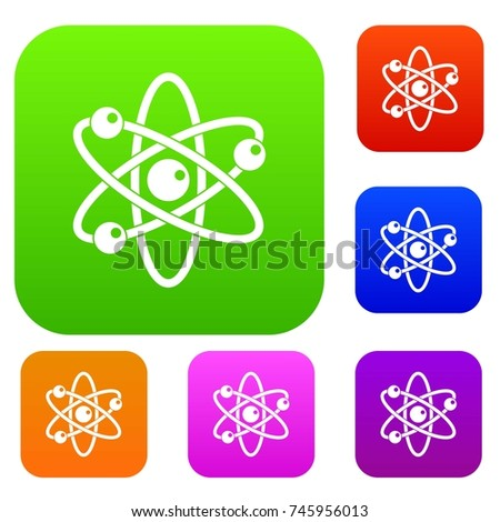 Atom with electrons set icon color in flat style isolated on white. Collection sings vector illustration