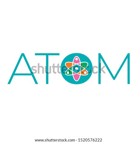 atom word and atom symbol. colorful atom symbol