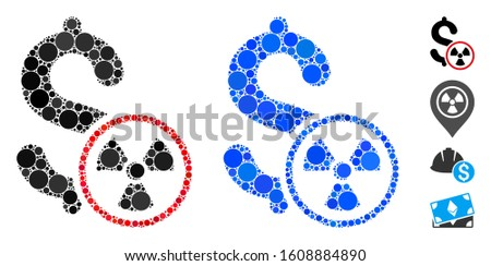Atomic credit composition of circle elements in different sizes and color tones, based on atomic credit icon. Vector circle elements are composed into blue collage.