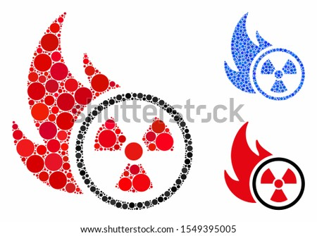 Atomic fire composition of spheric dots in variable sizes and shades, based on atomic fire icon. Vector round dots are united into blue illustration.